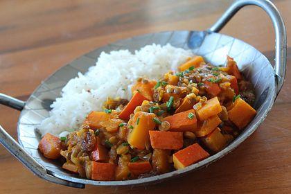 Rezeptbild zum Rezept Kürbis-Linsen-Curry