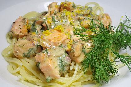 Rezeptbild zum Rezept Spaghetti mit Lachs und Zitronensoße