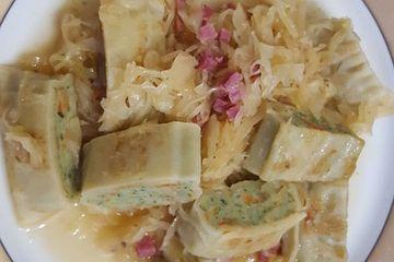 Maultaschen-Sauerkraut Pfanne