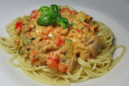 Rezeptbild zum Rezept Spaghetti mit Austernpilzen und Pestosahne