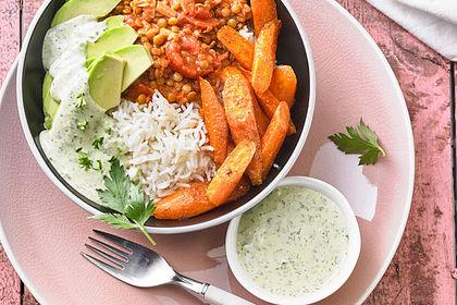 Rezeptbild zum Rezept Vegane Curry-Linsen-Bowl