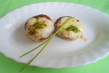 Marinierter Mozzarella in Champignons