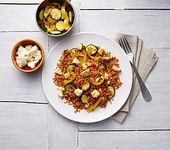 Reispfanne mit mediterranem Gemüse und Feta