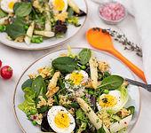 Reis-Salat mit Spargel und Spinat