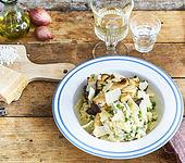 Erbsen-Risotto mit Kräuterseitlingen und Grana Padano