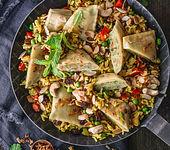 Vegetarische Reispfanne mit Maultaschen
