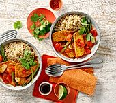 Spicy Tempeh-Soja-Reispfanne