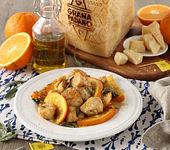 Hühnereintopf mit Orangen, Salbei und Grana Padano
