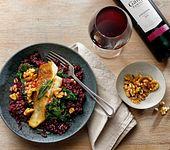 Risotto mit Rotwein, Grünkohl und gebratenem Kabeljaufilet