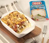 Lasagne mit Gorgonzola, Schinken und Pilzen