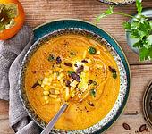 Schnelle Kürbis-Suppe mit Kaki
