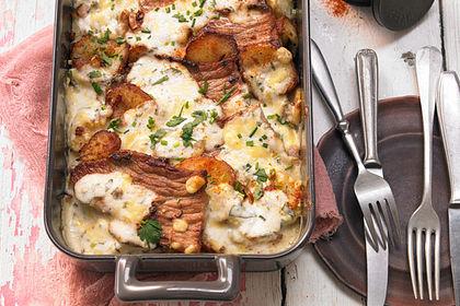 Rezeptbild zum Rezept Bratkartoffelauflauf mit Schnitzel