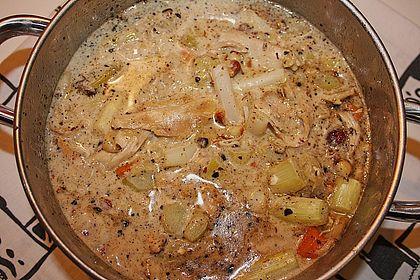 Rezeptbild zum Rezept Hühnchenragout mit Spargel-Rhabarber-Gemüse