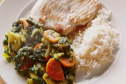 Rezeptbild zum Rezept Putenschnitzel mit Apfel-Curry-Gemüse