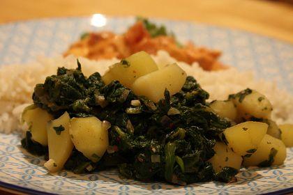 Rezeptbild zum Rezept Kartoffeln mit Spinat indische Art